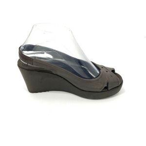 Crocs Farrah Peep Toe Wedge Sandals Brown 7